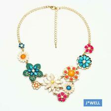 Betsey Johnson 2 Layer Gem Flower Pendant Garden Crystal Fashion Choker Necklace