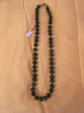 "10"" 1940s Dark Green Jade 10mm Beaded Necklace 49 Beads 56 Grams Sterling Clasp"