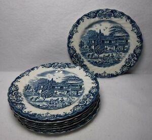 "JOHNSON BROTHERS china HERITAGE HALL Blue pattern Set of 8 Bread Plates  6-1/4"""