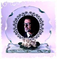 Creative George Michael memorial Cut Glass Frame Plaque keepsake  #4