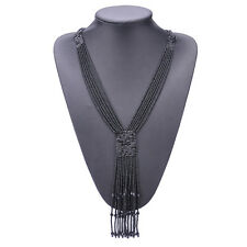 Multi-layer Woven Beads Necklace Jewelry Handmade Bohemia Long Tassel Necklaces