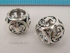 1x STERLING SILVER FILIGREE CROSS EUROPEAN BRACELET CHARM SPACER BEAD #2298