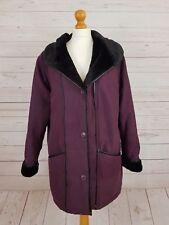 Daxon Women's Designer Faux Fur Lined Collar Coat Jacket Deep Purple UK 14
