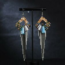 Geometric Square Crystal Braided Chain Fringe Tassel Hook Drop Earrings Jewelry