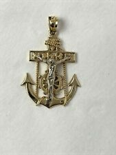 14 k Solid Yellow & White Gold Mariners Cross Pendant 3.5 grams  (B3-8)