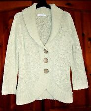 Beige Cardigan with Curved Hem & Collar Size 10-12