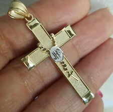 14k yellow white Gold JHS rosary Cross Pendant charm 1.80 inch