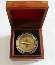 Home - Office - Boat Brass Navigation Compass in a Wooden Box