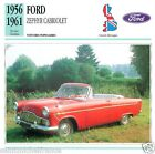 FORD ZEPHYR CABRIOLET 1956 1961 CAR VOITURE Great Britain CARTE CARD FICHE