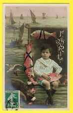 cpa France POISSONS 1er AVRIL 1909 April Fools day ENFANT Barque Pêcheur Mouette
