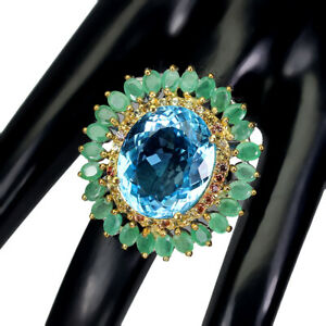 Handmade Oval Sky Blue Topaz 24ct Emerald Sapphire 925 Silver Ring Size 9.5