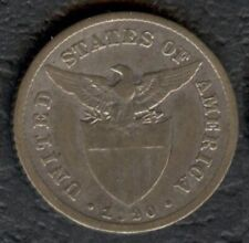 1920 US Philippine 20 Centavos United States of America Silver Coin Stock #2