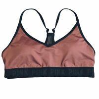 Victoria Secret Pink One Shoulder Sports Bra Logo flora Crop Lightly Lined Large