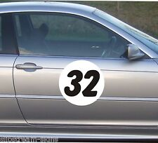 3x Circle Race Rally Numbers (2 Colour) Door Window stickers motorsport trackday