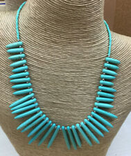 After Thoughts Necklace Turquoise Magnesite Graduated Gemstone Spike Silver