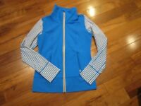 LULULEMON daily jacket in beaming blue and white stripe size 8 thumbholes
