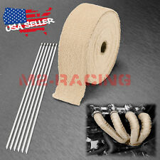 "Tan Beige Exhaust Pipe Insulation Thermal Heat Wrap 2"" x 50' Motorcycle Header"