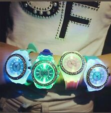 Womens  LED Backlight Crystal Quartz Wrist Watch Sport Waterproof PINK COLOUR *
