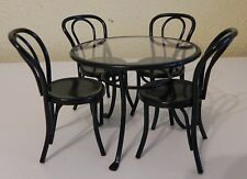 Dollhouse Miniature Black Dining Table Set Metal Round 4 Chairs 1:12 Scale