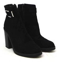 New Look Womens UK Size 3 Black Suede Night Party Ankle Boots