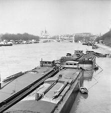 PARIS c. 1951 - Péniches - Négatif 6 x 6 - N6 P113
