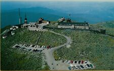 Aerial View Summit House Hotel TV Station Auto Road White Mts NH Postcard A15