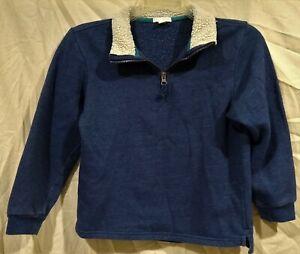 Falls Creek Zip Neck Pullover Sweater/Sweatshirt-Faux Fur Collar-Blue-10/12