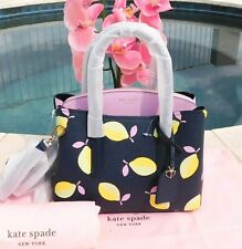 🌸 NWT Kate Spade Margaux Lemons Medium Satchel Bag Leather Blue Yellow NEW $298