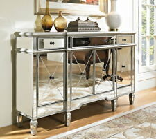 "60"" Benton Collection Andrea Mirrored Reflection Hall Console DH-695 (Silver)"
