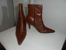 NEW LOOK Brown Leather Cuff Detail Ankle Boots in Size UK 5 / EUR 38 *EXC COND*