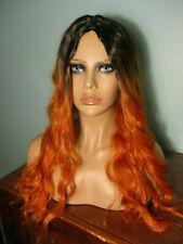 """20"""" orange and black OMBRE long wavy cosplay WIG by AICOS"""