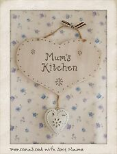 PERSONALISED Kitchen Sign Shabby Chic Antique White Metal Heart Plaque with name