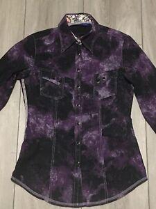 Georg Roth Los Angeles Long Sleeve Flip Cuff/Collar Snap-up Shirt Men's Size XS