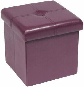 Purple Faux Leather Padded Foldable Storage Ottoman Toy Box Foot Rest Stool Seat