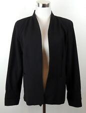 The Eileen Fisher Project M Black Blazer Jacket Long Wool Blend Hi Lo Hem Flaw