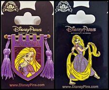 Disney Parks 2 Pin Lot RAPUNZEL Banner tassels + standing princess TANGLED