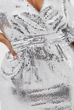 BNWTS ASOS Stunning TFNC Plus Fully Sequin Wrap Front Dress in Silver Sz 26 £69