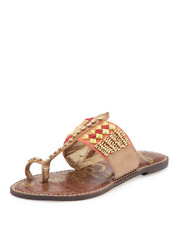 5b9350d1b86e Sam Edelman Leather Fabric Sandals Saddle Thong Beads T-Strap Stud Flat Size  8.5