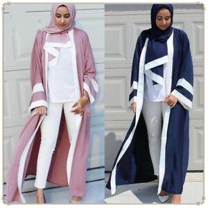 Dubai Style Women Patchwork Robe Muslim Open Front Kaftan Abaya Jilbab Dress New