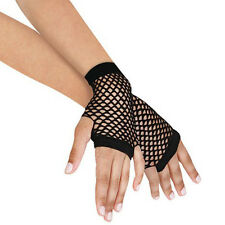 Women Short Fishnet Gloves Sexy Fingerless Gothic Party Black Mesh Mittens Pip、