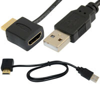 USB 2.0 HDMI Male To Female Adapter Extender Power Supply Connector Cable Hot