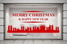 Merry Christmas & A Happy New Year shop window mirror wall decal sticker art.