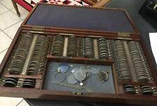 Original Boxed Opticians Lenses Set  Antique Curio Eye Testing Mahogany Case Box