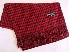 100% Cashmere Winter Scarf Scarve Scotland Warm Houndstooth Red Black Shawl