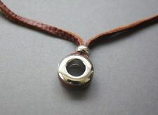NEW Leather Men's Metal Ring Pendant Surfer Style Necklace Choker