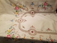 """Vintage Tablecloth Embroidered Inlaid Lace Inserts Ivory 97""""x64"""" Floral"""