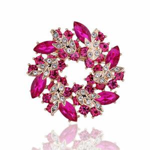 Pink Large Wreath Brooch Diamante Crystal Rhinestone Bridal Pin Scarf Gift UK