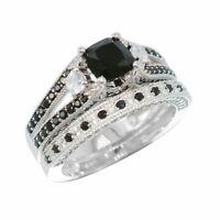 Cushion Black Diamond 2 CT 10K White Gold Engagement Ring Wedding Bridal Set