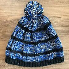 Junior Girls Women's Winter Hat - Blue and Black