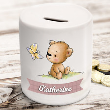 Personalised kids childrens money box in teddy bear design - gift present idea